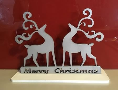 Merry Christmas Reindeer Sign with Stand