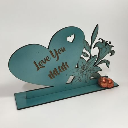Love You Mum Heart with Flowers and Freestanding