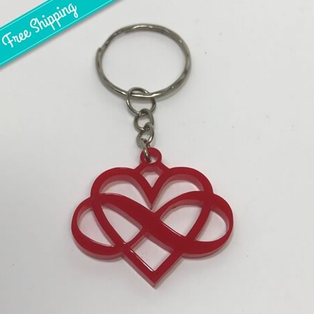 Infinity and Heart Acrylic Keyring