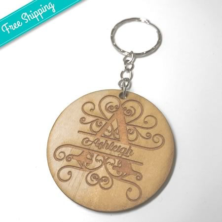 Monogram Key Ring with Inital and Name