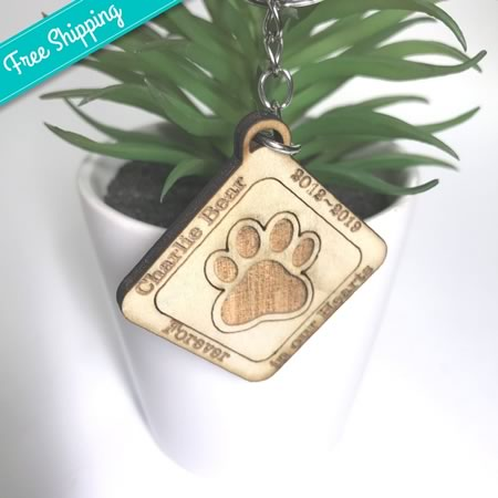 Forever in our Hearts Paw Print Key Ring