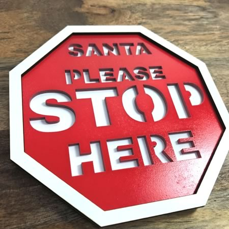 Door Hanger - Santa Please Stop Here Sign