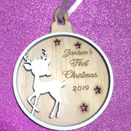 First Christmas Tree Deer Bauble