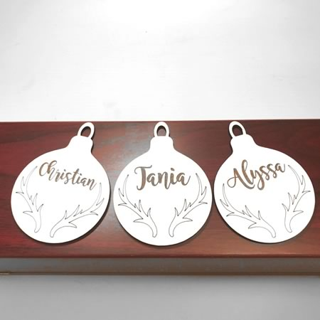Christmas Bauble with Antlers and Personalised Name