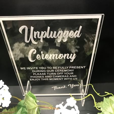Unplugged Ceremony Plaque