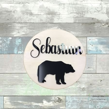 Kids Bedroom Name Sign with Bear