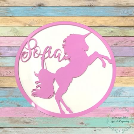 Kids Bedroom Name Sign with Unicorn
