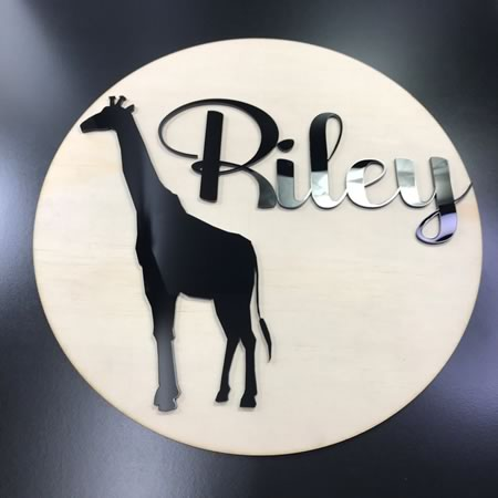 Personalised Kids Bedroom Sign with Giraffe