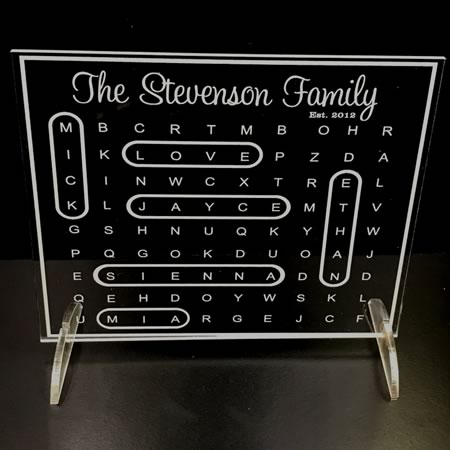 Personalised Family Word Search Plaque