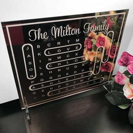 Personalised Family Word Search Plaque in Arcylic