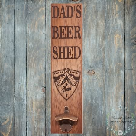 Dads Beer Shed Sign with Bottle Opener