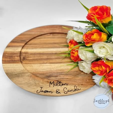 Wooden Round Tray - Names