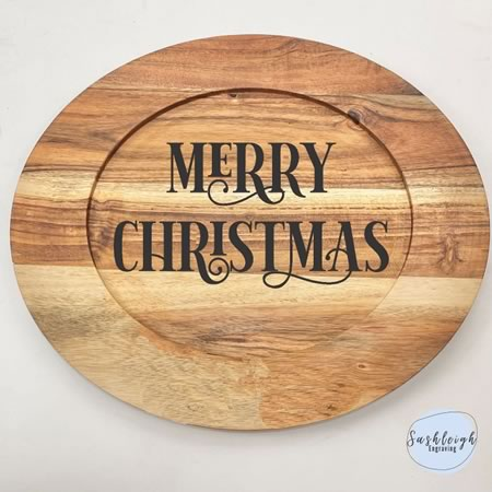 Wooden Round Tray - Merry Christmas