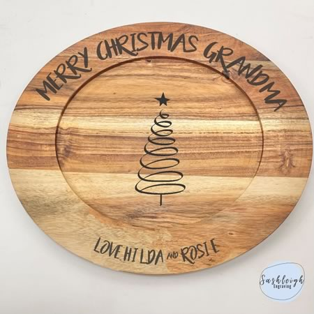 Wooden Round Tray - Personalised Merry Christmas